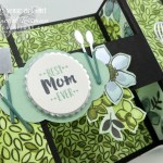 Here is a fun Bridge Fold Card created with the Share What You Love Designer Paper, the Apron of Love Stamp Set, & the coordinating Apron Builder Framelits Dies. It's a tease of the exclusive project that I