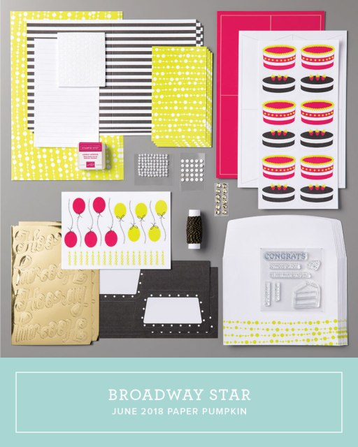 The June 2018 Broadway Star Paper Pumpkin kit…#stampyourartout #stampinup - Stampin' Up!® - Stamp Your Art Out! www.stampyourartout.com