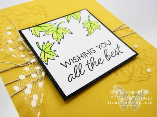 Click here for more information on how to make this beautiful falling leaves card with the limited-time Blended Seasons stamp set, new Watercolor Pencils, and some Whisper White Polka-Dot Tulle Ribbon…#stampyourartout #stampinup - Stampin' Up!® - Stamp Your Art Out! www.stampyourartout.com