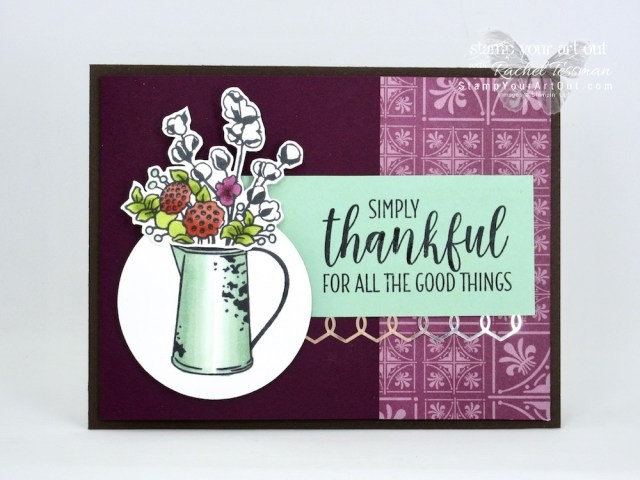 Simply Thankful for All the Good Things card created with Country Home stamp set and Country Lane Designer Paper from the 2018 Holiday Catalog AND Stampin' Blends markers. Click here for directions, measurements and supplies…#stampyourartout #stampinup - Stampin' Up!® - Stamp Your Art Out! www.stampyourartout.com