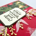 I combined the First Frost stamp set, the coordinating Frosted Bouquet Framelits, and the All Is Bright Designer Paper to get this beautiful (yet easy to make) Christmas card. Click here for measurements and directions…#stampyourartout #stampinup - Stampin' Up!® - Stamp Your Art Out! www.stampyourartout.com
