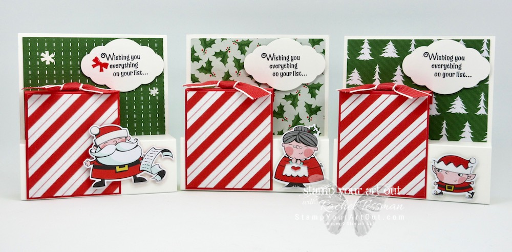 Another Step Panel Fold Cards that I created with the Santa's Workshop Suite of products: Signs of Santa stamp set, Santa's Workshop designer paper, Santa's Signpost framelits, Santa's Workshop Enamel Shapes and some Poppy Parade Textured Weave ribbon. You can also find measurements, a complete list of supplies, and a link to a how-to video that includes directions for how to make these Step Panel cards!...#stampyourartout #stampinup - Stampin' Up!® - Stamp Your Art Out! www.stampyourartout.com