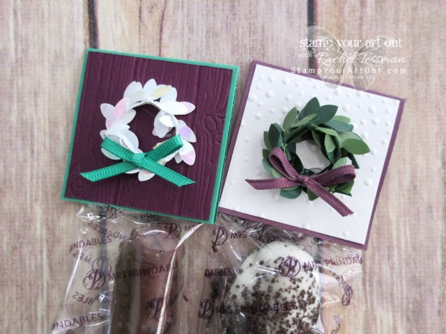 One of the treats I sold at the Holiday Bazaar Craft & Vendor Fair – toppers made with Boxwood Wreath Embellishments and Snowflakes & Stars Wire Elements...#stampyourartout #stampinup - Stampin' Up!® - Stamp Your Art Out! www.stampyourartout.com