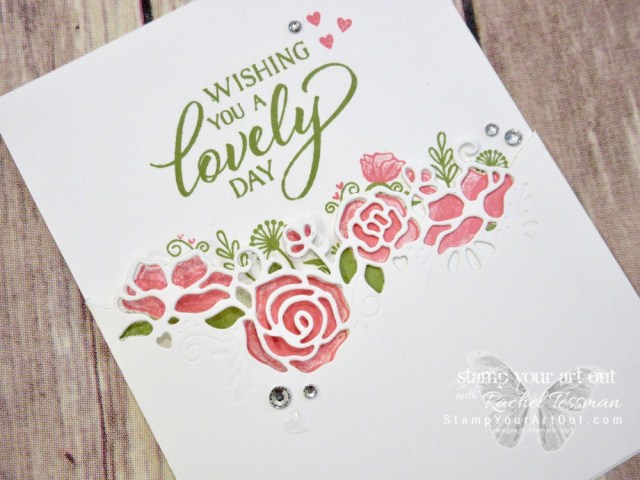 Here is another card that we made at my Silver Elite Retreat in December 2018. It's a very pretty card that is much easier to make than it looks! The products I use are mainly from the 2019 Occasions Catalog: The Forever Lovely Stamp Set, the coordinating Lovely Flowers Edgelits Dies, and a few Heart Epoxy Droplets. And then you'll need the fabulous Stamparatus Tool. Click here to watch my how-to video to get measurements and tips. #stampyourartout #stampinup - Stampin' Up!® - Stamp Your Art Out! www.stampyourartout.com
