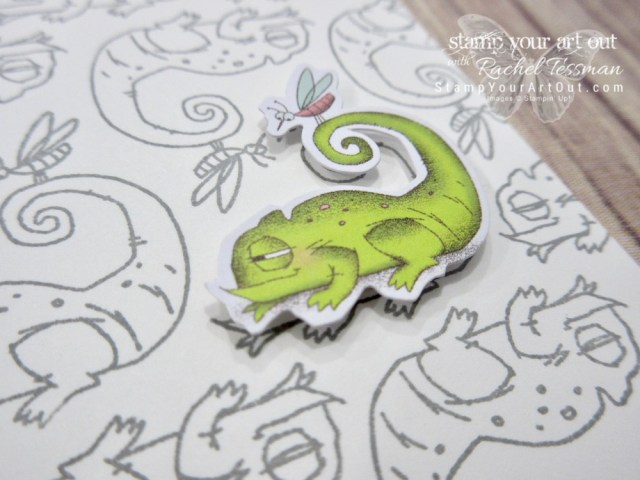 You're one in a chameleon card made with the January 2019 Paper Pumpkin kit stamp set and die-cut images. Super cute and super easy! I only added Smoky Slate ink and Whisper White note cards! #stampyourartout #stampinup - Stampin' Up!® - Stamp Your Art Out! www.stampyourartout.com