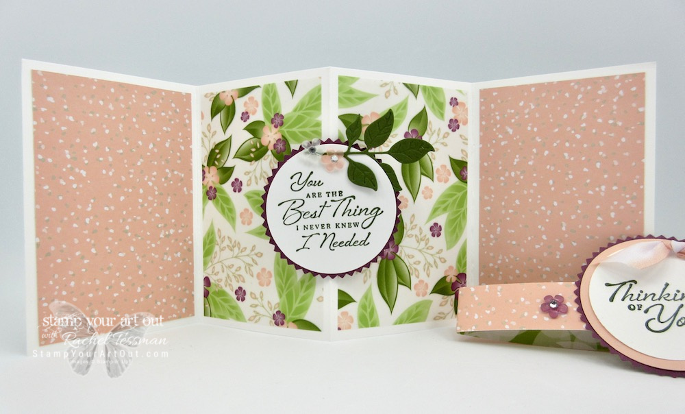 I love the new Floral Romance Suite! Click here to learn how to put together this pop out gate-fold card I made using the Floral Romance Designer Paper, the Wonderful Romance Stamp Set, the Wonderful Floral Framelits, and the Frosted Flower Embellishments! #stampyourartout #stampinup - Stampin' Up!® - Stamp Your Art Out! www.stampyourartout.com