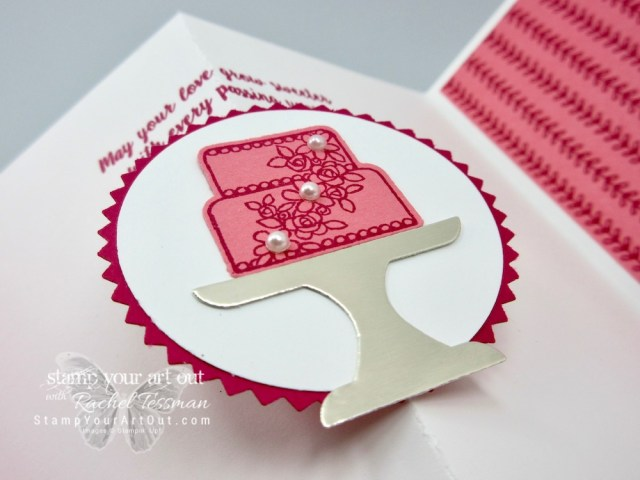 Greek Isles Achievers Blog Hop March 2019: Pop Out Gate-Fold Card made with the Piece of Cake stamp set, the Cake Builder punch and the All My Love Designer Paper. Click here for directions, measurements and supplies. #stampyourartout #stampinup - Stampin' Up!® - Stamp Your Art Out! www.stampyourartout.com