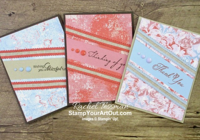 """Click here to see how to """"stretch"""" your designer paper layer and how to add a fun coordinating pocket inside a card to hold cash or a gift card. I use the new 2019-21 In Colors, the Woven Threads Designer Paper, the Floral Essence Stamp Set, the In Color Faceted Dots and more. I also share several versions of this card. Watch my video so you can see all my tips and tricks and get the step-by-step directions! You'll also be able to access measurements, other close-up photos, and links to the products I used. #stampyourartout #stampinup - Stampin' Up!® - Stamp Your Art Out! www.stampyourartout.com"""