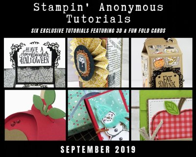 """Stampin' Anonymous Tutorials contain 6 EXCLUSIVE """"better than flat"""" projects (fun fold cards or 3-D items) created by myself and 5 other talented Stampin' Up! demonstrators. Place an order in the month of September, and get this bundle for free! Or choose the option to purchase any of the bundles for just $9.95. #stampyourartout #stampinup - Stampin' Up!® - Stamp Your Art Out! www.stampyourartout.com"""