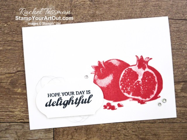 """I've made three coordinating notecards with the Slice of Happiness stamp set. These images are """"distinkive,"""" so they have a special texture that gives added depth and dimension with a single impression. Click here to get measurements, directions, and a supply list linked to my online store. #stampyourartout #stampinup - Stampin' Up!® - Stamp Your Art Out! www.stampyourartout.com"""