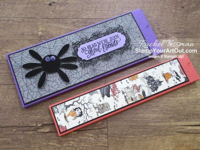 """I made more pencil boxes. This time I made them with products from our Monster Bash Suite. Oh! And that spider?...It's made with the 1"""" Circle Punch and the Daisy Punch. Click here for more details and a list of products I used to make my flowers. - Stampin' Up!® - Stamp Your Art Out! www.stampyourartout.com"""