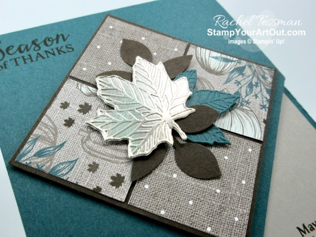Here is the second make-n-take project that we made during our September 2019 Stampers With ART team gathering online! It's a corner-cut card made with the Come to Gather Designer Paper, Gather Together Stamp Set, Gathered Leaves Dies, and the Leaf Punch. Click here to get measurements, directions, and a supply list linked to my online store. - Stampin' Up!® - Stamp Your Art Out! www.stampyourartout.com