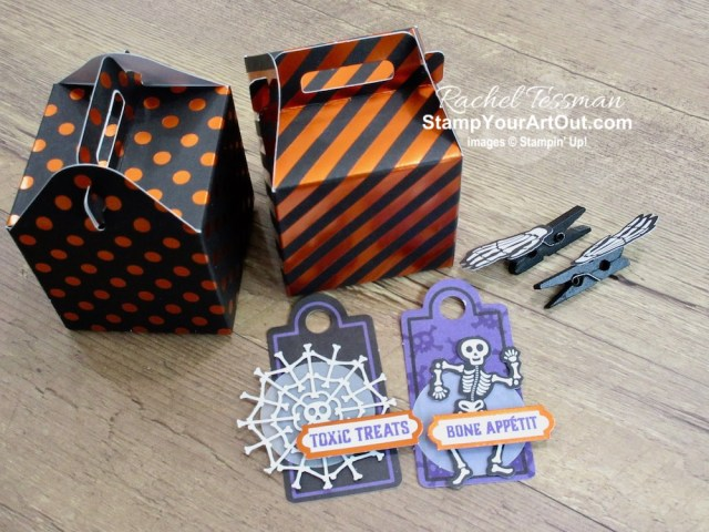 "I'm excited to share with you what I created with the September 2019 Bone Appétit Paper Pumpkin Kit: THREE fun fold cards, a non-halloween card, wedding favors, a ""house"" Halloween treat box, and a tombstone treat box. Click here for photos of all these projects, a video with directions, measurements and tips for making them, and a complete product list linked to my online store! - Stampin' Up!® - Stamp Your Art Out! www.stampyourartout.com"