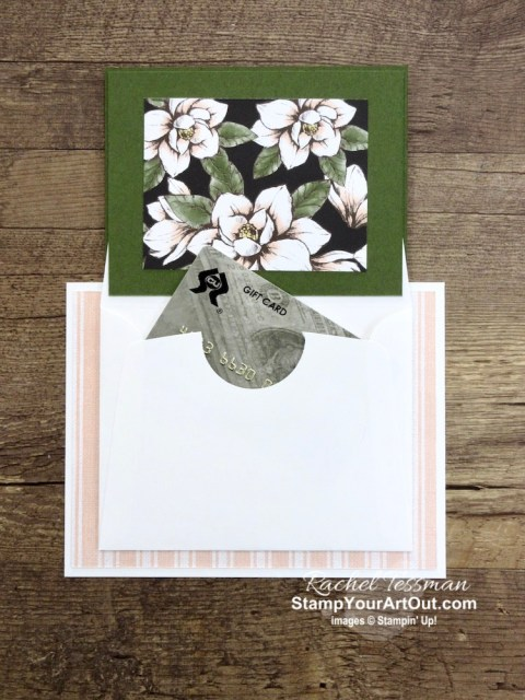 The Magnolia Lane Small Memories & More Card Pack can be converted into some fun pocket cards with a little added cardstock and Magnolia Lane designer paper. Click here to see two cards I created AND get the measurements, directions and links to the products I used. - Stampin' Up!® - Stamp Your Art Out! www.stampyourartout.com