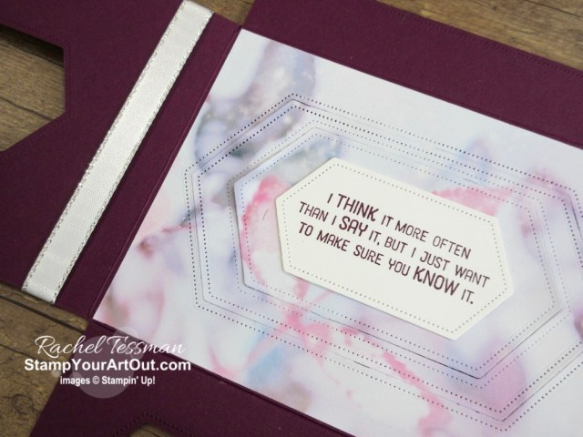 """Click here to see how to make a card with 3 flaps containing increasing larger die-cut windows that fold out revealing the """"fun"""" inside. I used the Feels Like Frost Designer Paper, sentiments from the Flourishing Phrases Stamp Set, and the Stitched Nested Labels Dies to make it. You'll be able to watch my video so you can see all my tips and tricks and get the step-by-step directions. You'll also be able to access measurements, see other close-up photos, and get links to all the products I used. - Stampin' Up!® - Stamp Your Art Out! www.stampyourartout.com"""