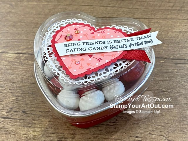 These Heart Foil Tins make easy and yummy Valentine gifts. I made a few different ones. Click here to get measurements, directions, and a list of supplies linked to my online store. - Stampin' Up!® - Stamp Your Art Out! www.stampyourartout.com