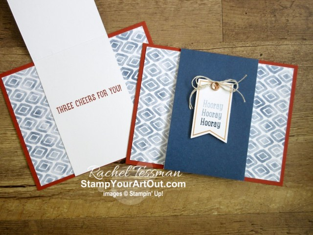 I made three alternate cards using some of the supplies in the Three Cheers for You Card Kit. Access more photos, measurements, tips, and a supply list by clicking here. Stampin' Up!® - Stamp Your Art Out! www.stampyourartout.com