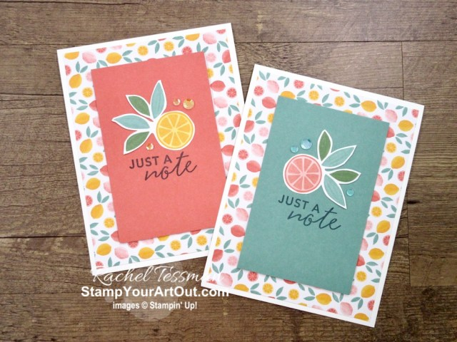 """I tripled the cards (to make 45 instead of 15) in the Simply Citrus Card Kit! By just adding a few basic supplies: Whisper White cardstock & envelopes, Artistry Blooms Sequins, Paper Trimmer, Paper Snips, and 2"""" Circle Punch to this all-inclusive kit, you can really get the most out of it. Click here to access measurements, a how-to video with tips and tricks, other close-up photos, and links to all the products I used. - Stampin' Up!® - Stamp Your Art Out! www.stampyourartout.com"""