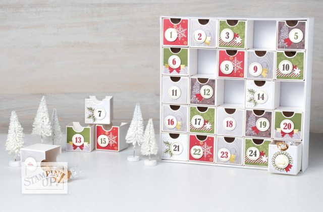 The Christmas Countdown project kit is back this year. Click here to see how I combined it with the Poinsettia Place Suite of products, and to see more creative ways to use this set of drawers, and…to get the directions, measurements and supplies. - Stampin' Up!® - Stamp Your Art Out! www.stampyourartout.com