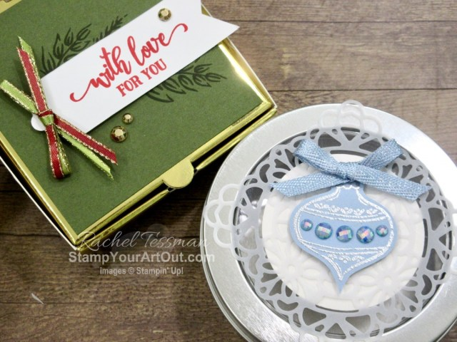 Here are a couple treat containers (Gold Mini Pizza Box and Round Tin) that I decorated with images from the Tag Buffet stamp set and other fun Stampin' Up!.products. Click here to see photos, get measurements & directions, and shop for supplies from my online store so you can recreate this card yourself. - Stampin' Up!® - Stamp Your Art Out! www.stampyourartout.com