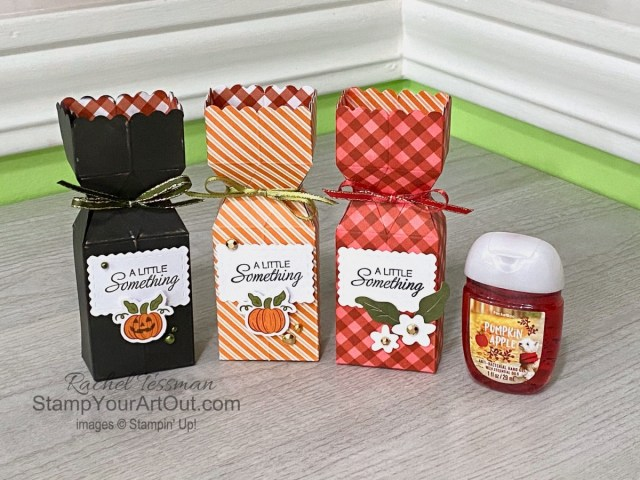 """I'm excited to share with you a few more projects I created with the September 2020 """"Hello Pumpkin"""" Paper Pumpkin Kit – a 12x12 scrapbook page, a few hand sanitizer holders, and a fun Halloween easel card! Click here for photos of all these projects, a video with directions, measurements and tips for making them, and a complete product list linked to my online store! - Stampin' Up!® - Stamp Your Art Out! www.stampyourartout.com"""