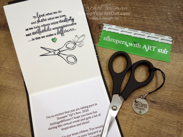 These are the gifts I gave my team members who attended Stampin' Up!'s virtual OnStage@Home November 2020 with me: a scissor charm in a fun-fold card, a team ribbon, and a note of appreciation. - Stampin' Up!® - Stamp Your Art Out! www.stampyourartout.com