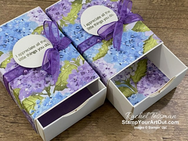 Click here to see how I decorated the Love You Always Treat Boxes with the Hydrangea Hill products: Hydrangea Hill Designer Paper, Hydrangea Haven Stamp Set, Pastel Pearls, and Gorgeous Grape Sheer Ribbon. Access directions, more photos, measurements, and links to all the products so you can make them, too. - Stampin' Up!® - Stamp Your Art Out! www.stampyourartout.com