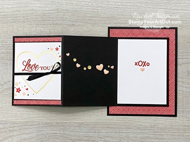 Here are a couple more alternate projects that I created with elements from the January 2021 Sending Hearts Paper Pumpkin Kit: a z-fold layer card that I gifted to a few of my lucky subscribers and a love-themed 12x12 scrapbook page layout. Click here for more photos, measurements, a supply list, and directions. - Stampin' Up!® - Stamp Your Art Out! www.stampyourartout.com