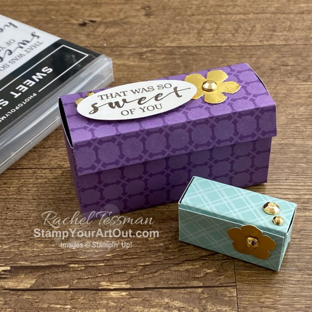 Would you like to learn how to make a 2-compartment gift/treat box using a square piece of paper/cardstock? I created a couple more (one of which is the size of an ounce of cheese!) using the Upcoming Brights Designer Paper, one of the five free packs being gifted in the Starter Kit during this Jan-Feb 2021 Sale-a-Bration. Click here to access measurements, directions, a link to the how-to video, other close-up photos, and links to the products I used. - Stampin' Up!® - Stamp Your Art Out! www.stampyourartout.com