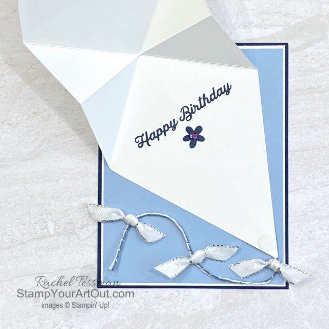 Click here to see how to make a Kite Fold Card using the Paper Blooms Designer Paper (available through February 28, 2021) and the coordinating In Bloom Bundle (the In Bloom Stamp Set and the Pierced Blooms Dies). Access measurements, more photos, a how-to video with directions, and links to the products I used. - Stampin' Up!® - Stamp Your Art Out! www.stampyourartout.com