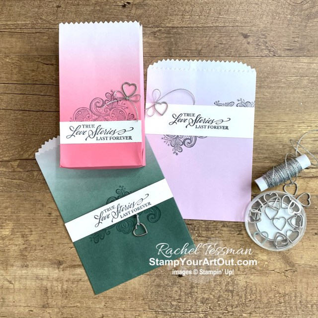 The new Ombré Gift Bags featuring the new 2021-23 In Color Collection are stunning. And when paired with images from the Elegantly Said Stamp Set, one can make beautiful wedding or shower favor gift bags. Access more photos, measurements, directions, and a supply list by clicking here. Stampin' Up!® - Stamp Your Art Out! www.stampyourartout.com