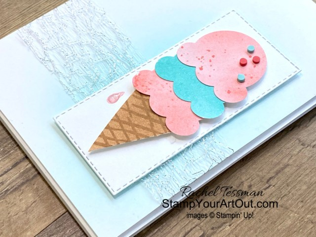"""All Star Tutorial Blog Hop May 2021 featuring the Ice Cream Corner Suite of products from Stampin' Up!'s Jan-June 2021 Mini Catalog. Click here to see how to make several variations of the same card AND how to make your own """"Ice Cream"""" designer paper with Blending Brushes, inks, and water. Access measurements, a how-to video with tips and tricks, other close-up photos, and links to all the products I used. Learn how to grab up the awesome exclusive tutorial bundle. AND see other great ideas with this suite shared by the eleven others in our tutorial group! - Stampin' Up!® - Stamp Your Art Out! www.stampyourartout.com"""