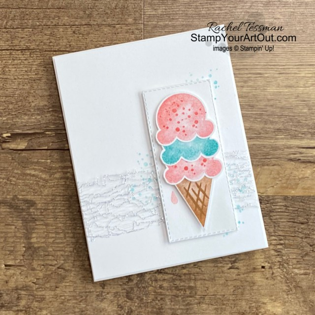 "All Star Tutorial Blog Hop May 2021 featuring the Ice Cream Corner Suite of products from Stampin' Up!'s Jan-June 2021 Mini Catalog. Click here to see how to make several variations of the same card AND how to make your own ""Ice Cream"" designer paper with Blending Brushes, inks, and water. Access measurements, a how-to video with tips and tricks, other close-up photos, and links to all the products I used. Learn how to grab up the awesome exclusive tutorial bundle. AND see other great ideas with this suite shared by the eleven others in our tutorial group! - Stampin' Up!® - Stamp Your Art Out! www.stampyourartout.com"