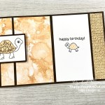 """The new Turtle Friends Stamp Set has so many great images (words, cute turtles, and more). There is even a coordinating punch you can get. I made this adorable """"shell-ebrate"""" birthday card with this set, the Expressions and Ink paper, and the Gold Metallic Specialty paper. Access directions, more photos, measurements, and links to the products so you can make this yourself. - Stampin' Up!® - Stamp Your Art Out! www.stampyourartout.com"""