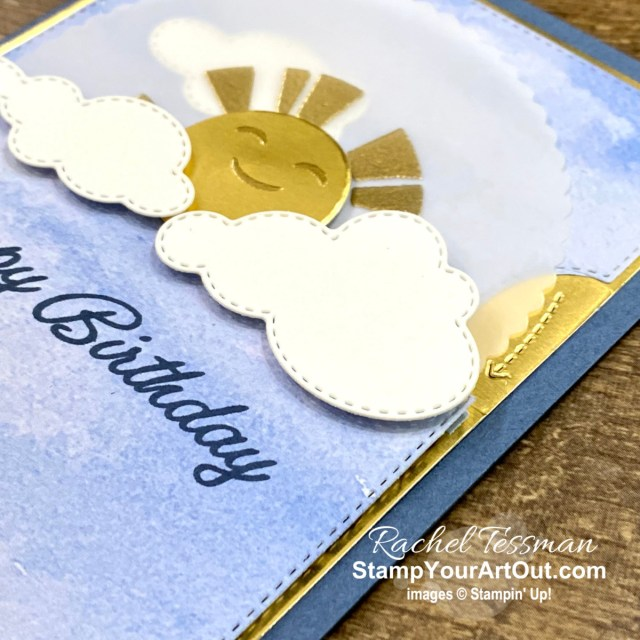 Click here to see a modified way to use the Give it a Whirl Dies with the Sending Sunshine Stamp Set to create a card where the ray of light spin as the sun peeks above the clouds. There are a few special steps to take, and I use tools such as the Stampin' Cut & Emboss Machine, the Heat Tool to emboss, and the Stamparatus. But the card is well worth it. Access measurements, more photos, a how-to video with directions, and links to the products I used. - Stampin' Up!® - Stamp Your Art Out! www.stampyourartout.com