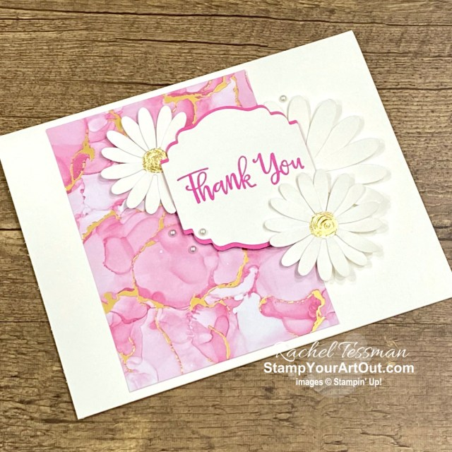 Click here to see how to make this pretty thank you card with the Expressions in Ink Designer Paper, Gilded Leafing, and a sentiment from the Peaceful Moments Stamp Set. Access measurements, more photos, directions, and links to the products I used. Check out some BackStage@Home gifts I received, too! - Stampin' Up!® - Stamp Your Art Out! www.stampyourartout.com