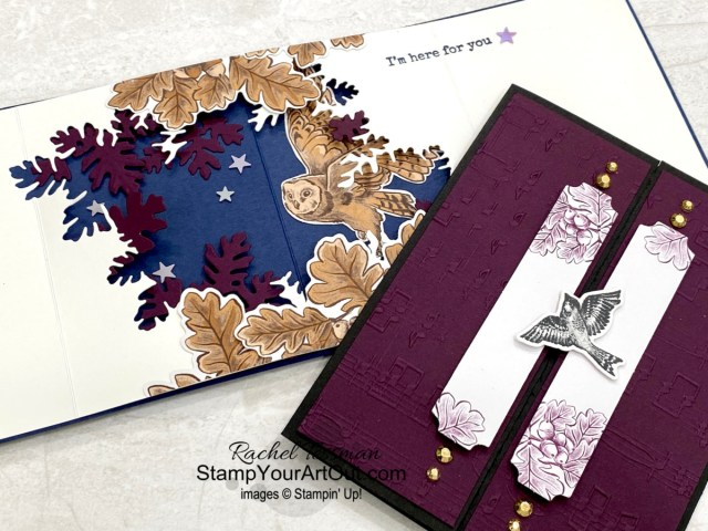 """All Star Tutorial Blog Hop October 2021 featuring the Blackberry Beauty Suite of products from Stampin' Up!'s 2021-22 Annual Catalog. Click here to learn how to make a magnetic closure gate-fold card and a pop-out window """"wow"""" card using some of the products from the Blackberry Beauty Suite: the Beauty of Tomorrow Stamp Set, the coordinating Beautiful Leaves Dies, and the Blackberry Beauty Ephemera Pack. Access measurements, a how-to video with tips and tricks, other close-up photos, and links to all the products I used. Learn how to grab up the awesome exclusive tutorial bundle. AND see other great ideas with this suite shared by the eleven others in our tutorial group! - Stampin' Up!® - Stamp Your Art Out! www.stampyourartout.com"""