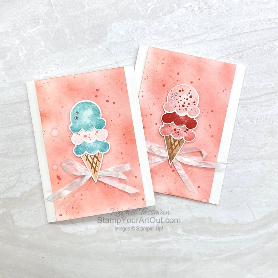 Ice cream anyone? I used more leftovers to assemble these yummy cards. Access tips, measurements, more photos, and a supply list. - Stampin' Up!® - Stamp Your Art Out! www.stampyourartout.com