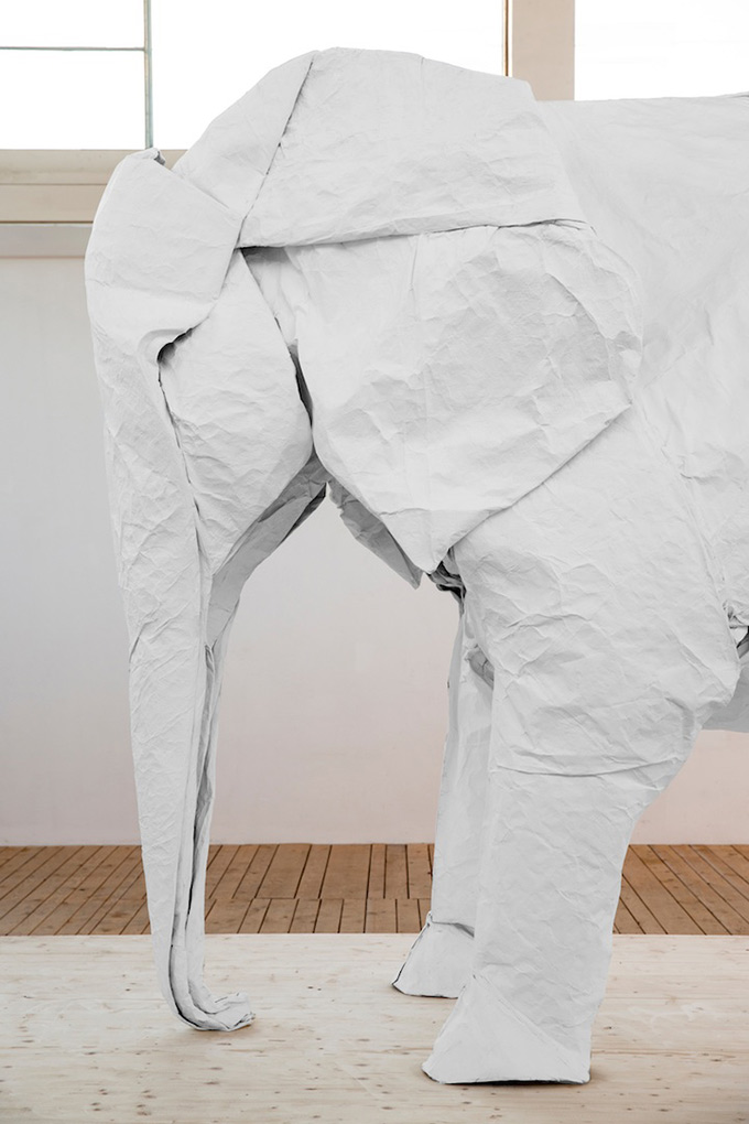 White-Elephant-A-LifeSize-Origami-Elephant-Folded-From-a-Single-Giant-Piece-of-3