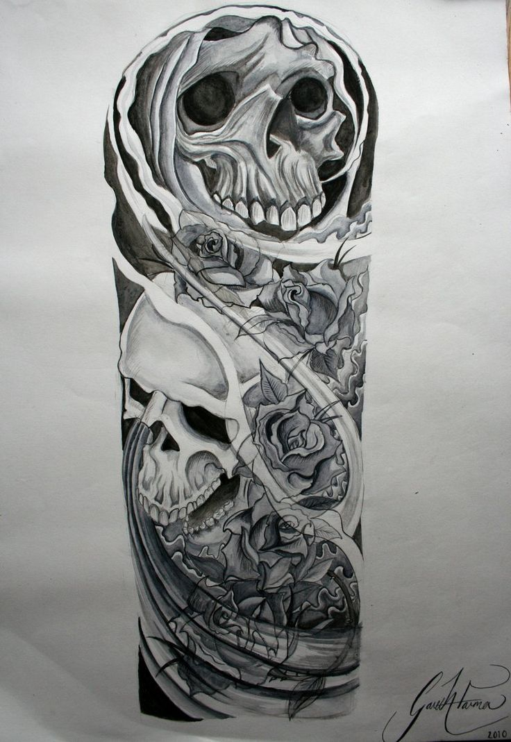 Skull Tattoo Sleeve Designs Drawings