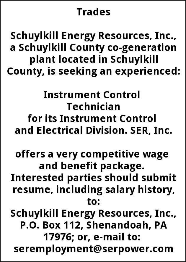 Instrument Control Technician, Schuylkill Energy Resources