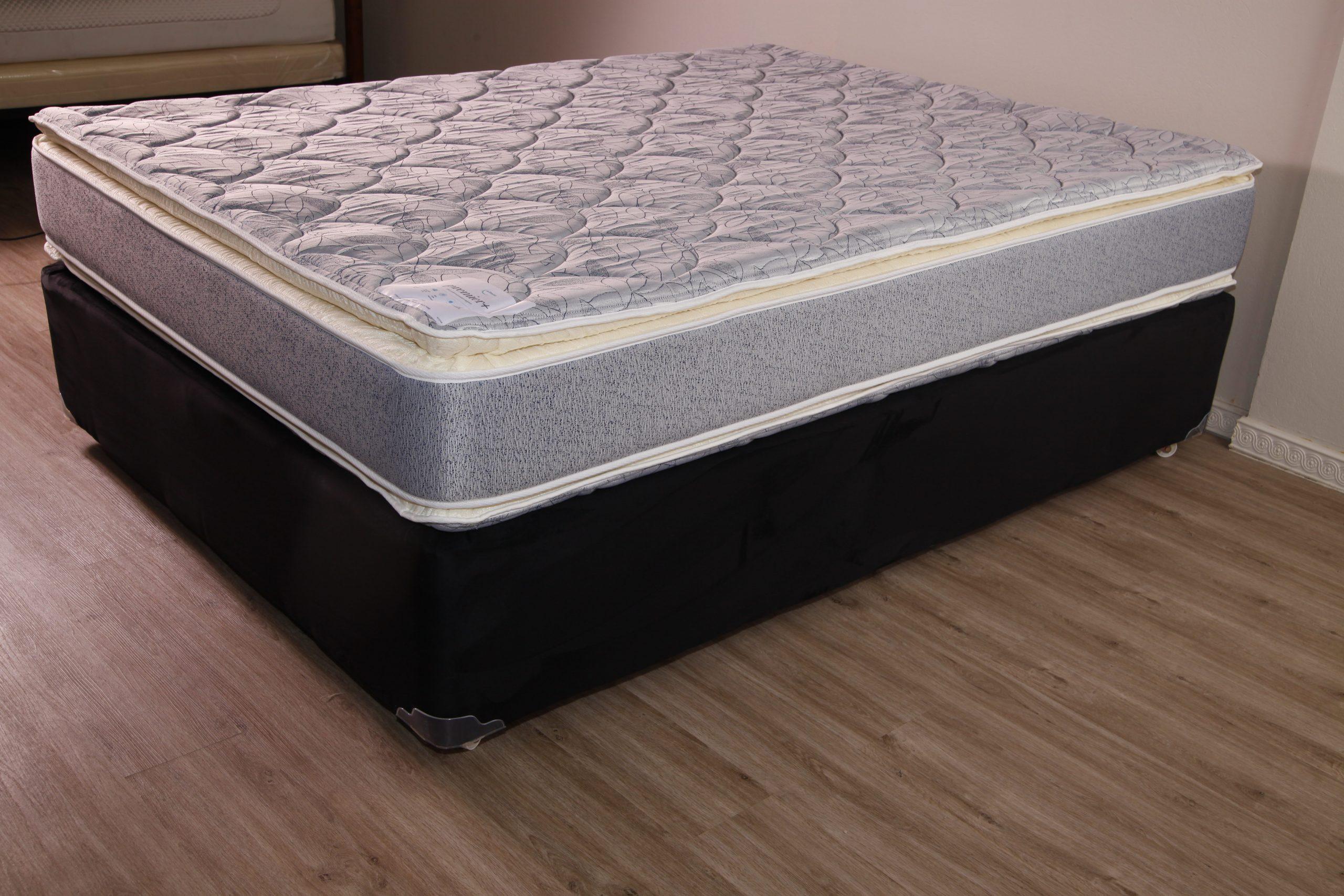 allnite premier plus full size grey dark blue mattress pillow top comfort feel fg matt 00225