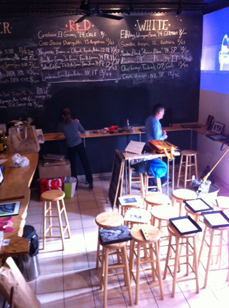 Art show installation in bar