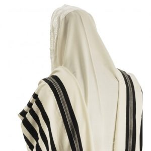 Talitnia Malchut Wool Non Slip Tallit Prayer Shawl with Handmade Tzitzit Strings – Black Stripes
