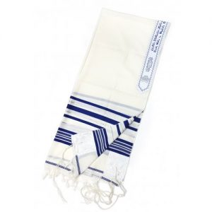 Talitnia Wool Tallit Kosher Prayer Shawl – Blue and Silver Stripes