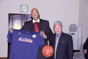 James Donaldson and North Korean Head Basketball Official - 2012