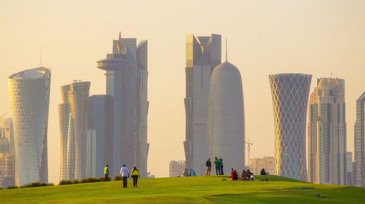 Golf and Tall Buildings at Qatar