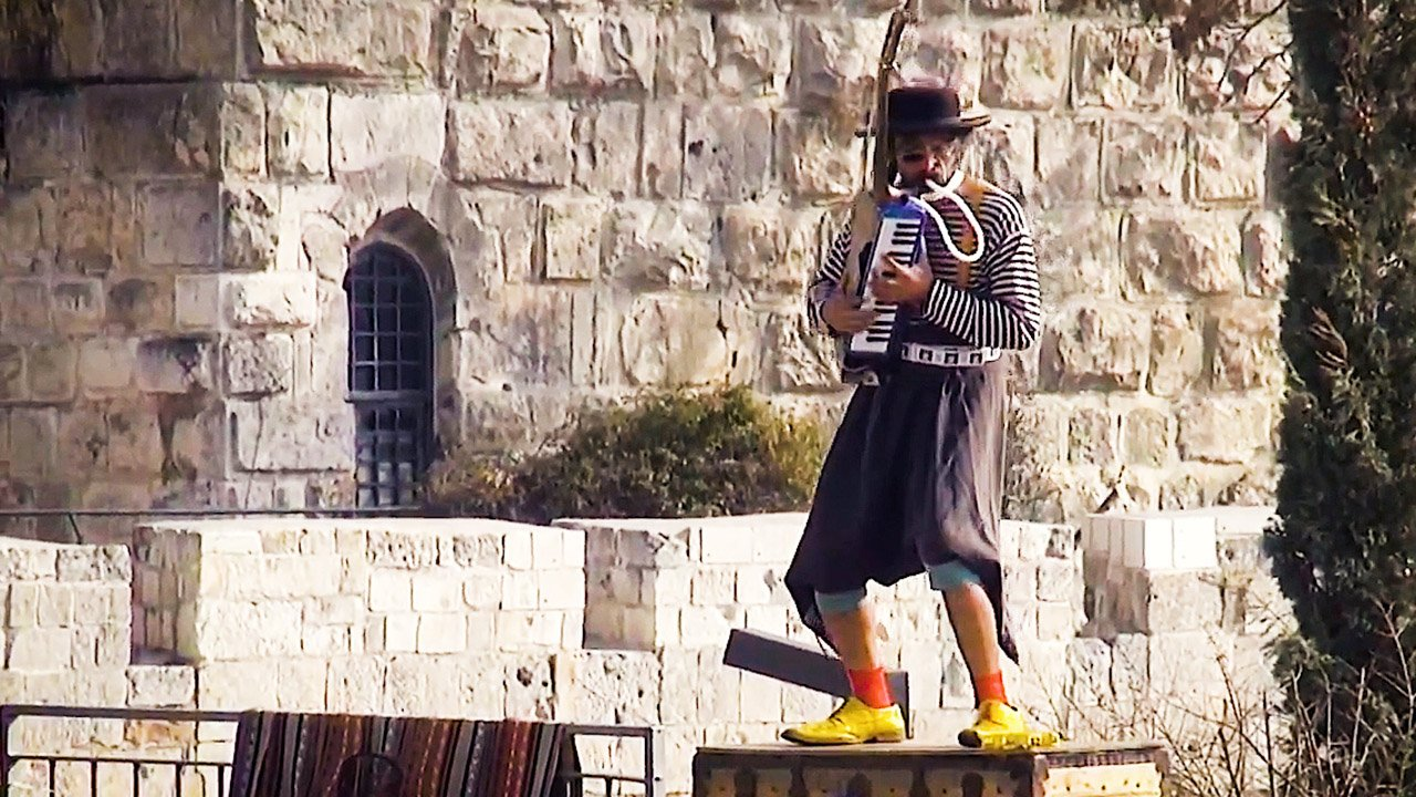 Musician performing at Jaffa Gate Plaza
