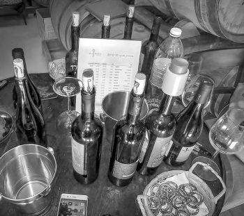 Sampling table at Seahorse Winery