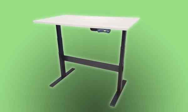 Standing desk white with black frame on green background